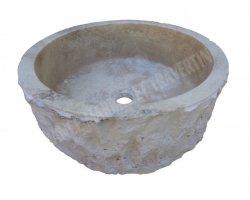 Travertin Classique Vasque Cylindre Eclaté 2
