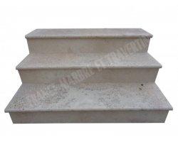 Travertin Beige Marche Escalier 120x33x3 cm Vieilli