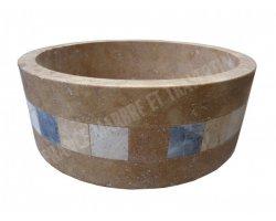 Travertin Noce Vasque Cylindre Mosaïque Adouci 2