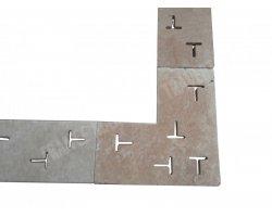 Travertin Classique Grille Angle T 50x50x3 cm 2