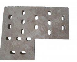 Travertin Classique Grille Angle Ovale 50x50x3 cm 2