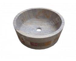 Travertin Silver Mosaïque Vasque Cylindre Adouci 2