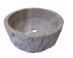 Travertin Gris Silver Vasque Cylindre Éclaté 2