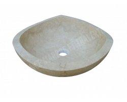 Travertin Classique Vasque Bol Triangle Adouci 2