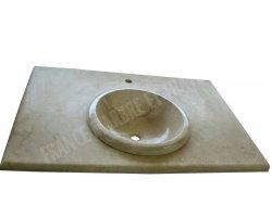 Travertin Beige Plan Vasque Encastrer 100x60x3 cm