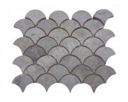 Marbre Silver Arabesque Mosaïque Shell Poli