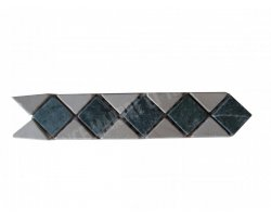 Travertin Frise Classique & Marbre Vert 28x6 cm