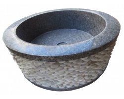 Marbre Rustic Vert Vasque Cylindre Galet Poli 2