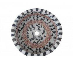 Marbre Mixte Mosaïque Vasque Cylindre Poli 2