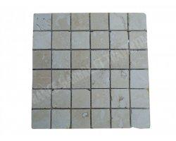 Travertin Classique Mosaïque 4,8x4,8 cm Poli
