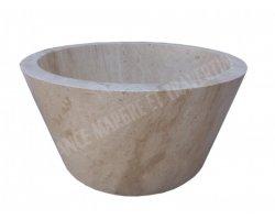 Travertin Classique Beige Vasque Mi-Conique Adouci 2