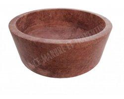 Travertin Rose Rouge Vasque Cylindre Adouci 2