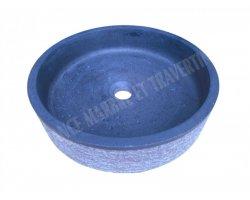 Basalte Noir Vasque Cylindre Plat Strie Adouci 2