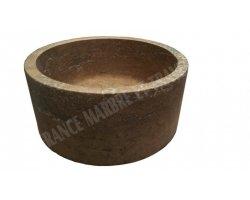 Travertin Noce Vasque Petit Cylindre Adouci 2
