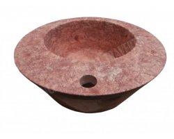 Travertin Rose Rouge Vasque Croissant Adouci 2