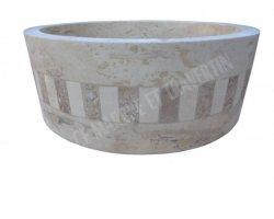 Travertin Classique Vasque Cylindre Mosaïque Adouci 2