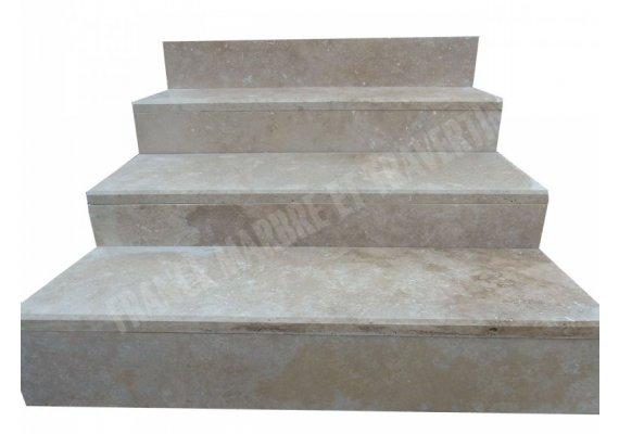 Travertin Beige Clair Marche Escalier 110x32x3 cm Adouci 1