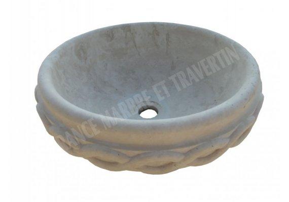 Travertin Classique Vasque Bol Ceinture Adouci 1