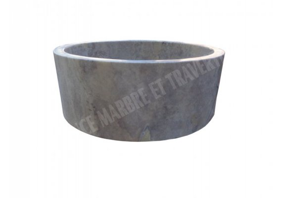 Travertin Gris Silver Vasque Cylindre 1