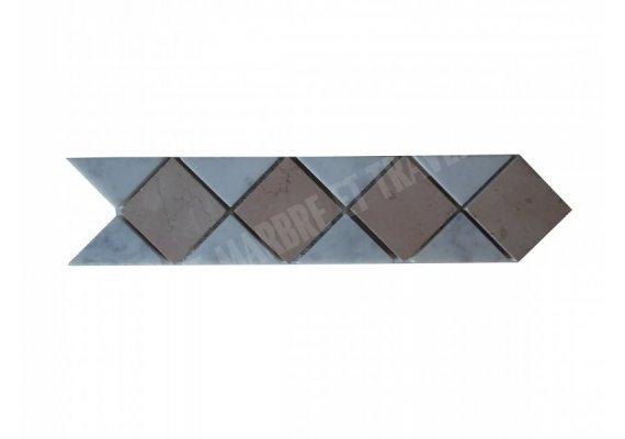 Marbre Frise Blanc - Rose Adouci 28x6 cm 1