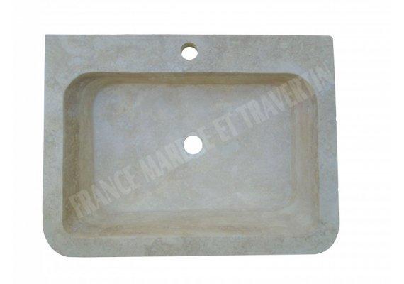 Travertin Classique Évier 60x45x13 cm Adouci 1