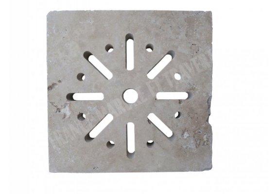 Travertin Classique Grille Siphon Rond 25x25x3 cm 1