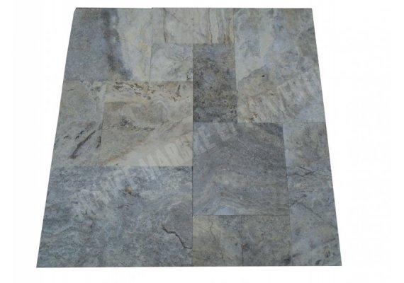 Travertin Silver Opus Romain 12 cm Brossée Droit 1