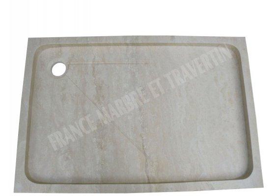 Travertin Classique Bac à Douche 120x80x8 cm Adouci 1