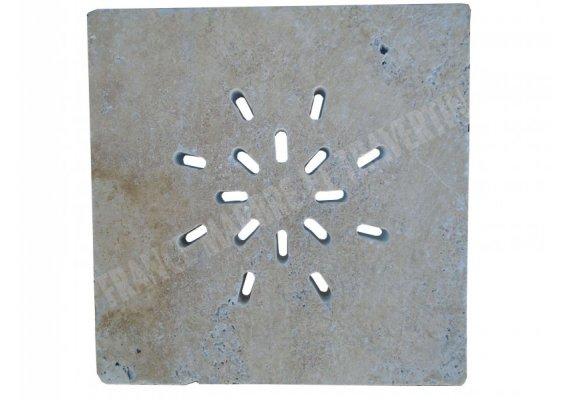 Travertin Classique Siphon Soleil Rainure 38x38x3 cm 1