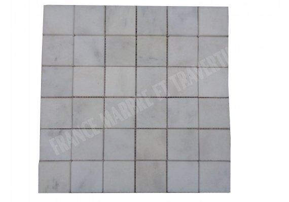 Marbre Blanc Carrara Turque Mosaïque 4,8x4,8 cm Poli 1
