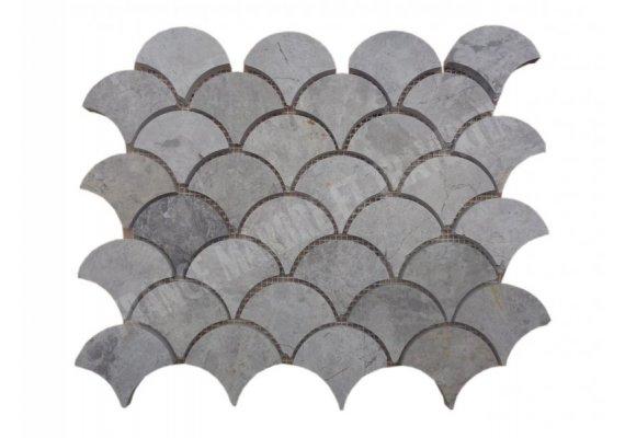 Marbre Silver Arabesque Mosaïque Shell Poli 1