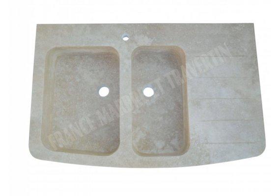 Travertin Classique Évier 2 Bac 110x65x18 cm Adouci 1