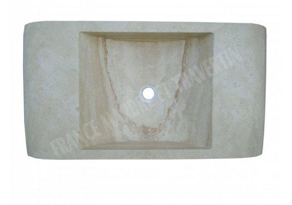 Travertin Classique Beige Évier 80x40x15 cm Adouci 1