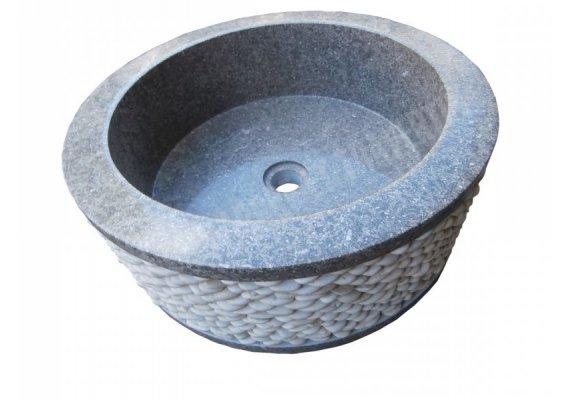 Marbre Rustic Vert Vasque Cylindre Galet Poli 1