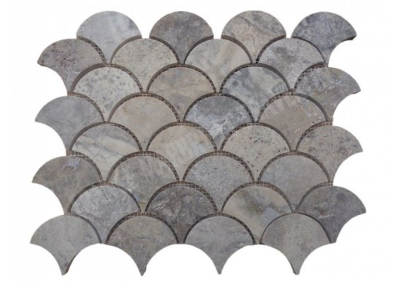Travertin Silver Arabesque Mosaïque Shell Adouci  1