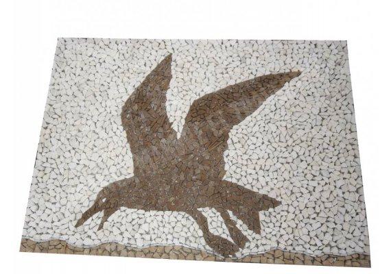 Travertin Tableau Mouette 92x66 cm Mosaïque 1