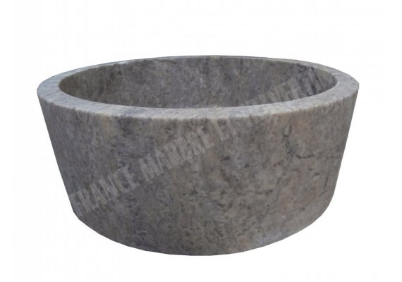 Travertin Gris Silver Vasque Cylindre Adouci 1