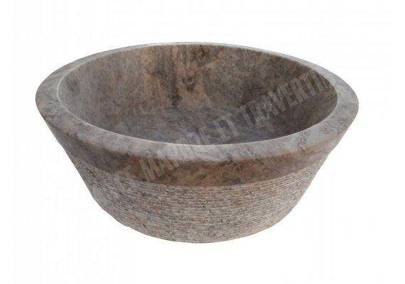 Travertin Silver Gris Vasque Mi-Conique Strié 1