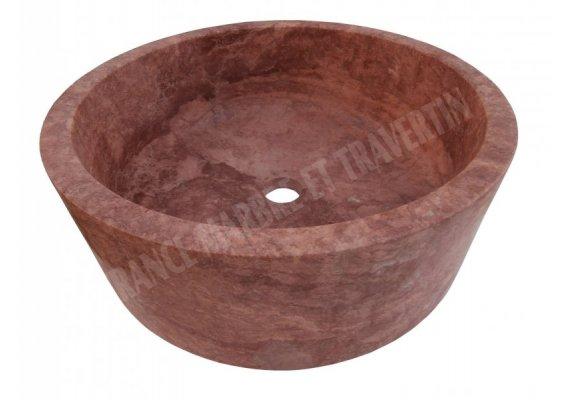 Travertin Rose Rouge Vasque Cylindre Adouci 1