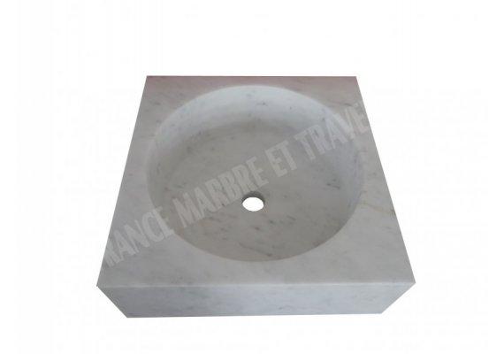 Marbre Blanc Carre Vasque Poli 1