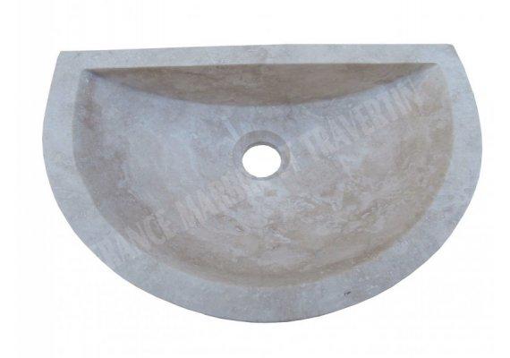 Travertin Classique Vasque Lave Main Mi-Lune Adouci 1